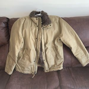 American Eagle Outfitters Canvas Fur Lined Coat